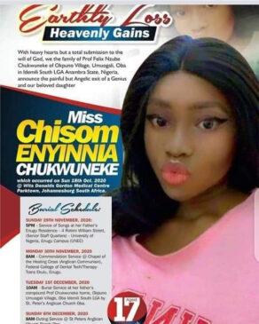student with 7 A1s dead Graceland college Enugu