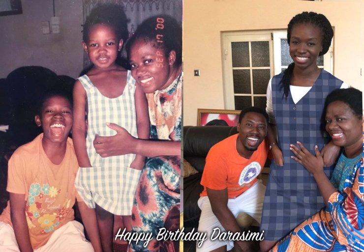 Young Darasimi Mike Bamiloye, mum and brother
