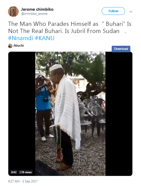 Screenshot of video posted on Twitter showing Nnamdi Kanu, the leader of the Indigenous People of Biafra (IPOB), telling his supporters Buhari had died