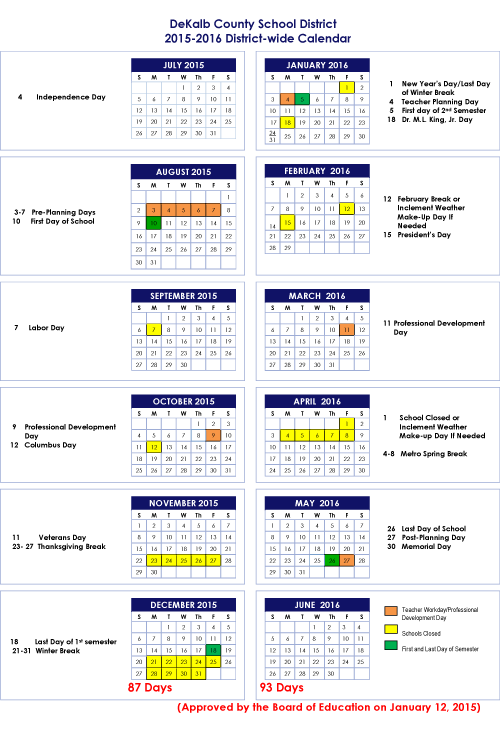 Official 20152016 School Calendar StanJester FactChecker