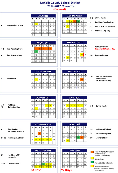 DeKalb Schools 2016 2018 Calendars | DeKalb Schools Fact Checker