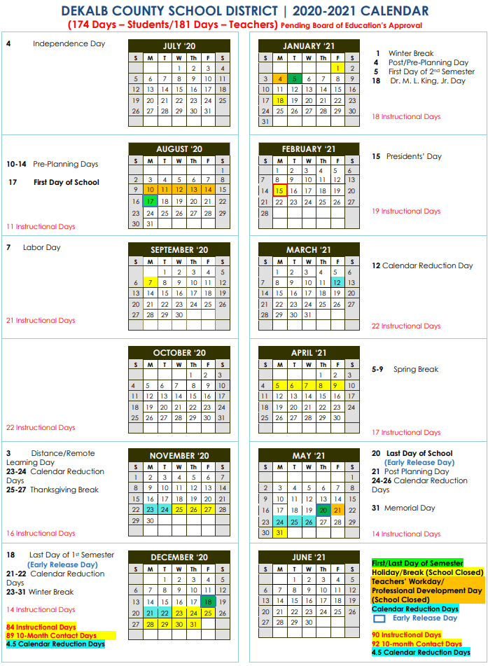 Barry University Fall 2021 Calendar DeKalb Schools New 2020 2021 School Calendar | StanJester