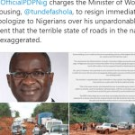 Pictures of bad roads in PDP's press release are of Liberia, NOT Nigeria
