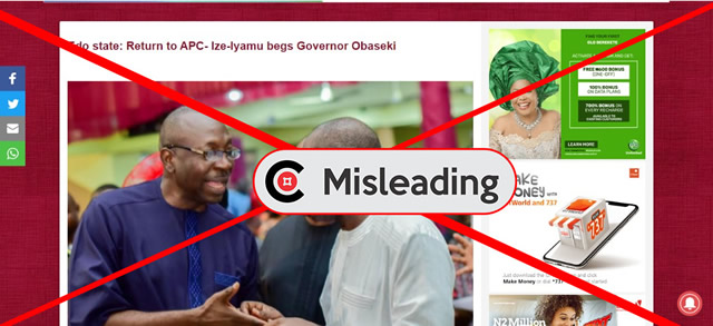 Media reports that Ize-Iyamu begged Obaseki to return to APC are MISLEADING