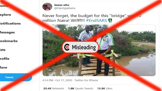 Picture of man wearing shirt with APC logo, commissioning alleged N10million wooden bridge is MISLEADING