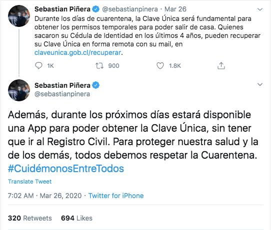 Tweet S Piñera