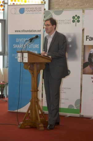 Allan LEONARD (Northern Ireland Foundation). FactCheckNI launch event. Skainos Centre, Belfast, Northern Ireland. (c) Kevin Cooper Photoline