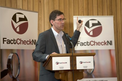Allan LEONARD (Northern Ireland Foundation). FactCheckNI launch event. Skainos Centre, Belfast, Northern Ireland. (c) Kevin Cooper Photoline