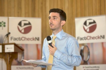 Alexios MANTZARLIS (Poynter Institute). FactCheckNI launch event. Skainos Centre, Belfast, Northern Ireland. (c) Kevin Cooper Photoline