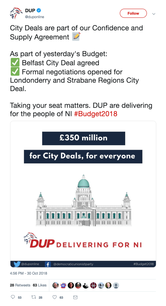 FactCheckNI 050 - Belfast City Deal - DUP Tweet