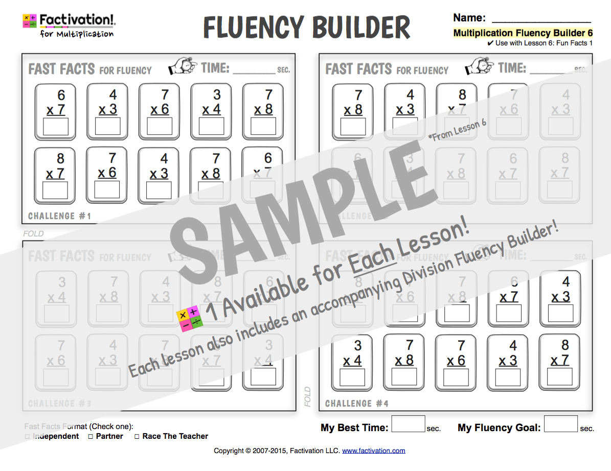 Multiplication Fact Fluency Worksheets