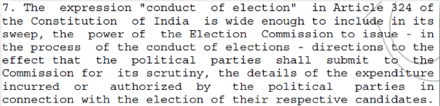 conduct of election - article 324 india