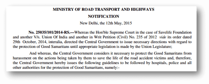 ministry of road transport and highways notification-india