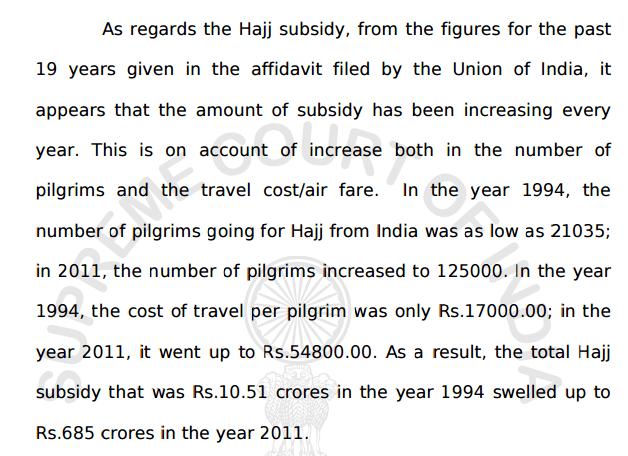 hajj pilgrimage subsidy india_Supreme Court ruling 10 years