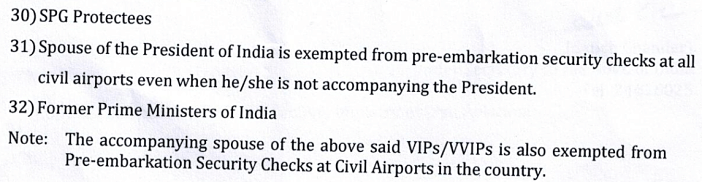 indian airport security check exemption list_list update note on accompanying spouse