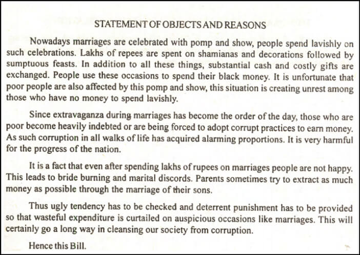 Prevention of Extravagance in Marriages_statement of objects and reasons