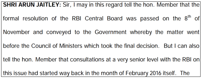 RBI Meeting Minutes for Demonetization