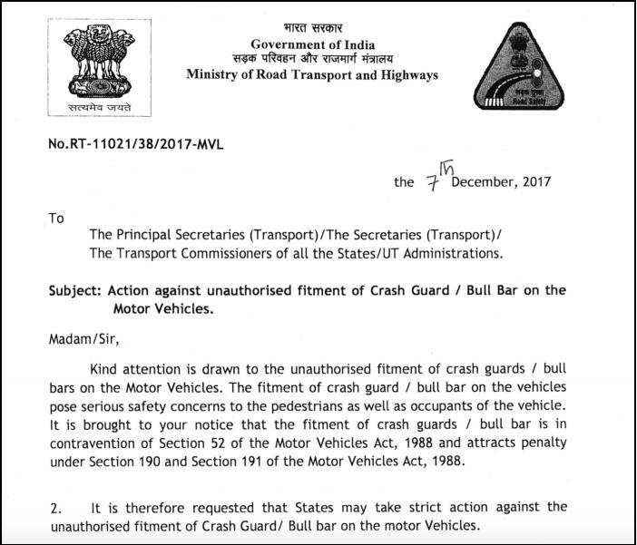 Unauthorized Fitting Of Crash Guard Bull Bar On Motor Vehicles