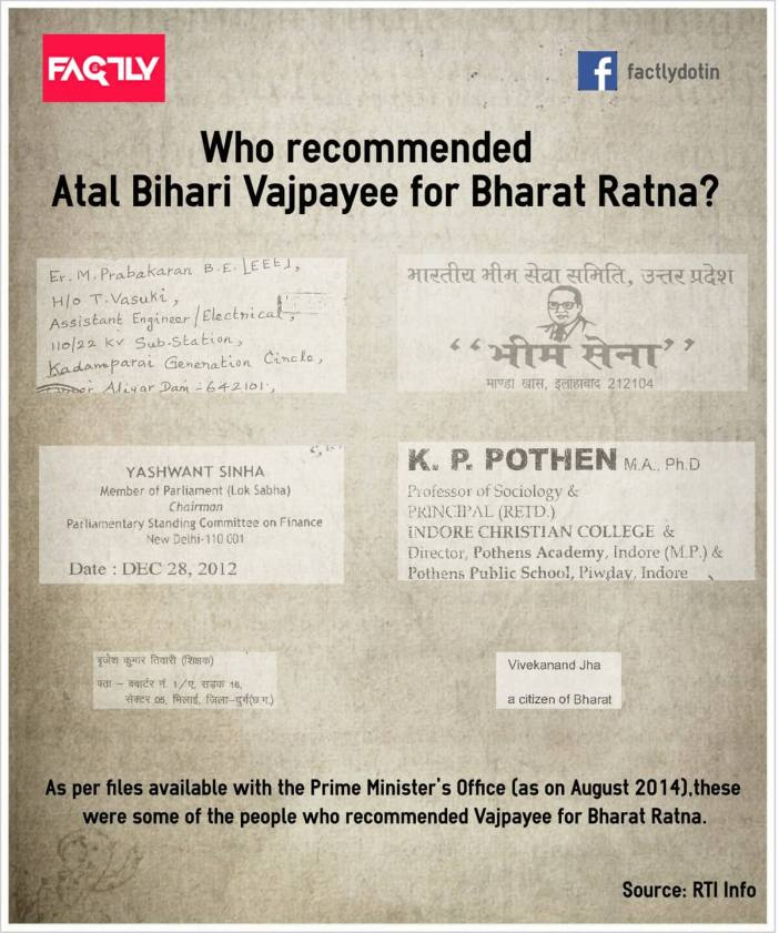Who recommended Atal Bihari Vajpayee for Bharat Ratna - Infographic