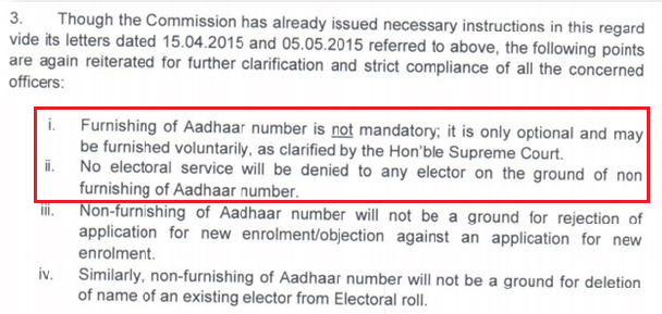 Linking voter id with Aadhar - ECI clarification