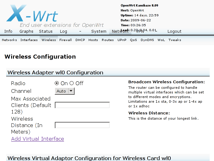 Network:Wireless tab, showing Broadcom Wireless Configuration message