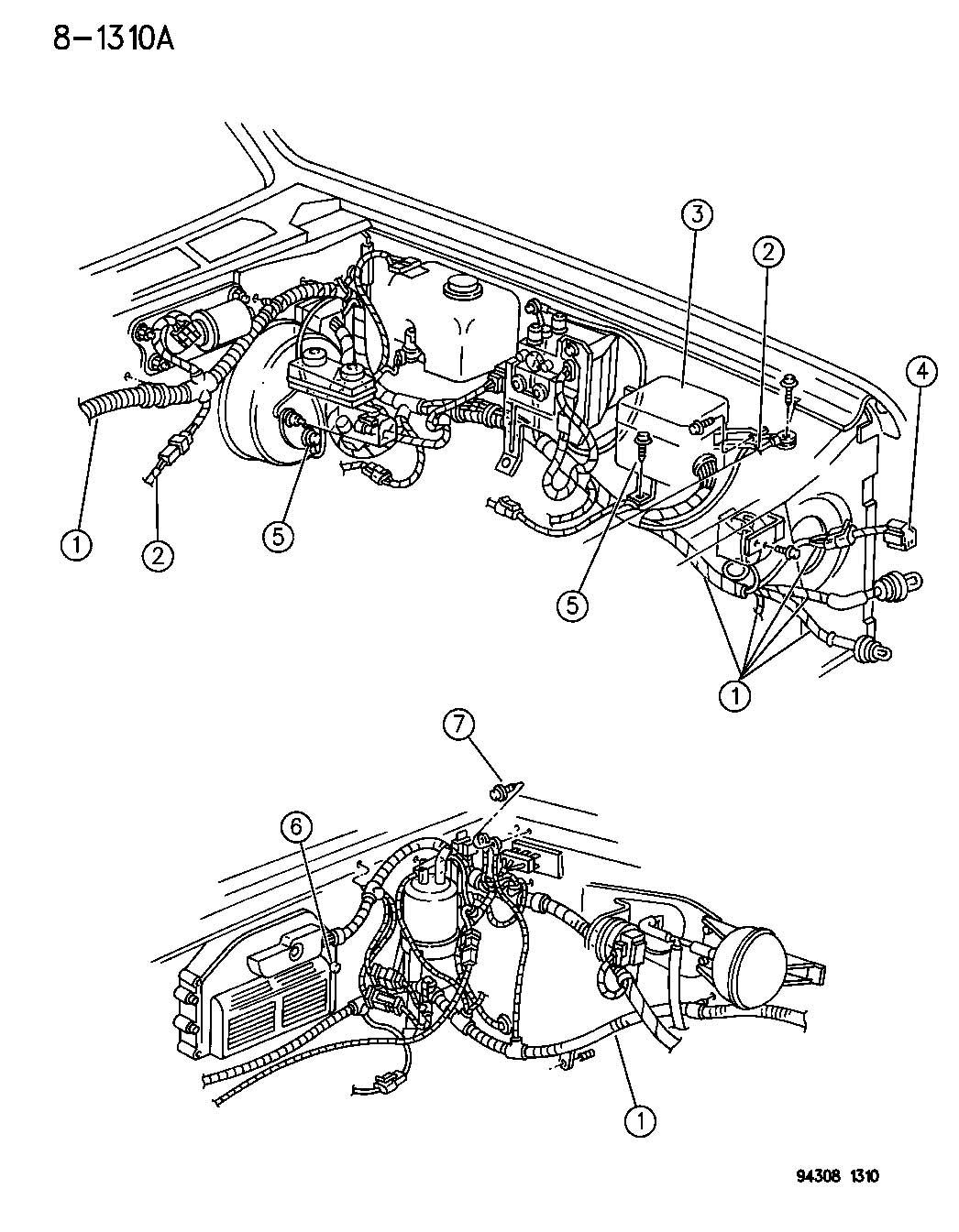 Dodge Dakota Magnum 5 2l Smpi V8 4 Spd Automatic 46rh Wiring Headlamp To Dash N Body