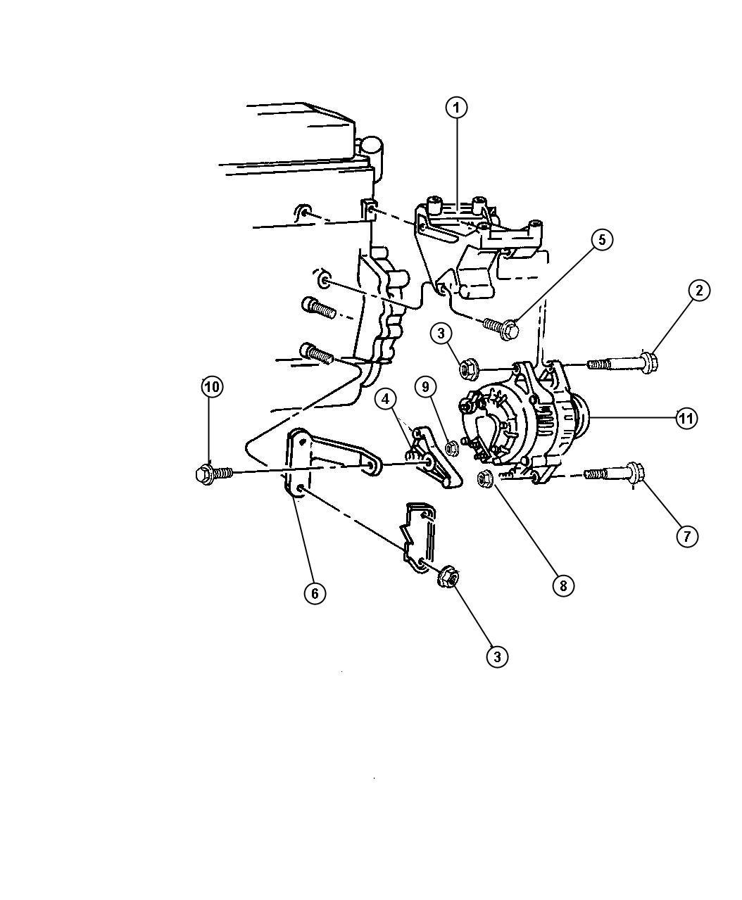 Dodge Dakota Alternator Mounting 2 5l Engine