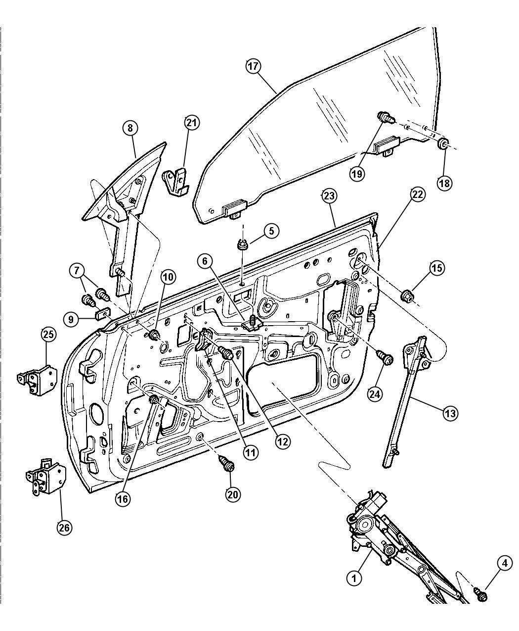 Chrysler Sebring Jx Convertible 2 5l V6 Sohc 24v Smpi 4 Speed Automatic Door Front Hinge