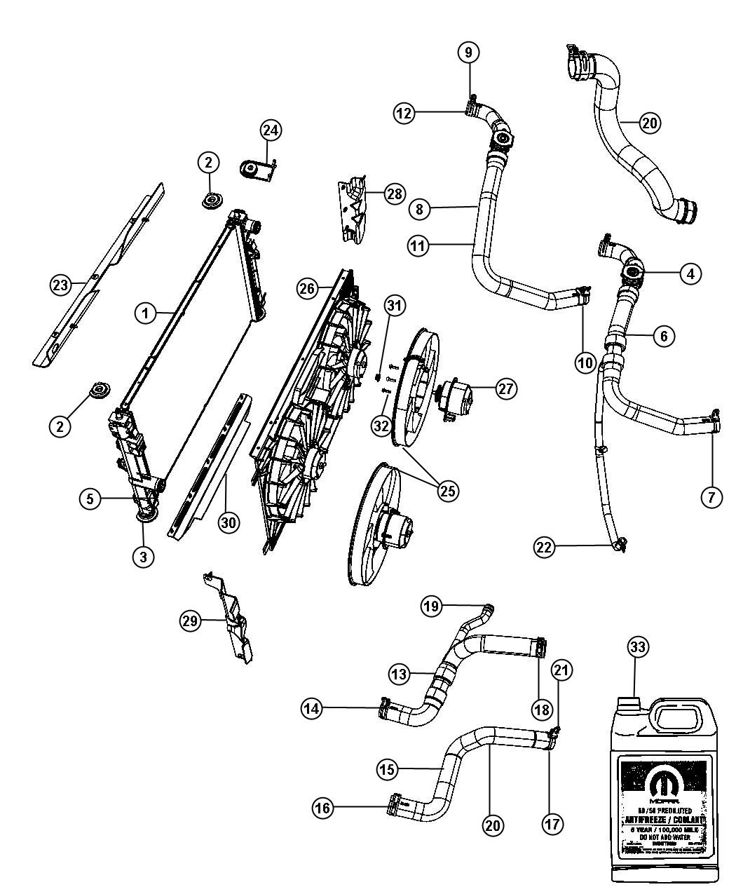 Dodge Caliber Radiator And Related Parts