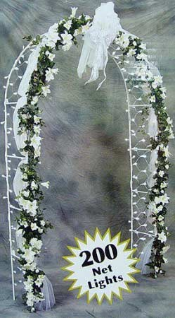 8 Ft Lighted White IndoorOutdoor Wedding Arch 200 Clear