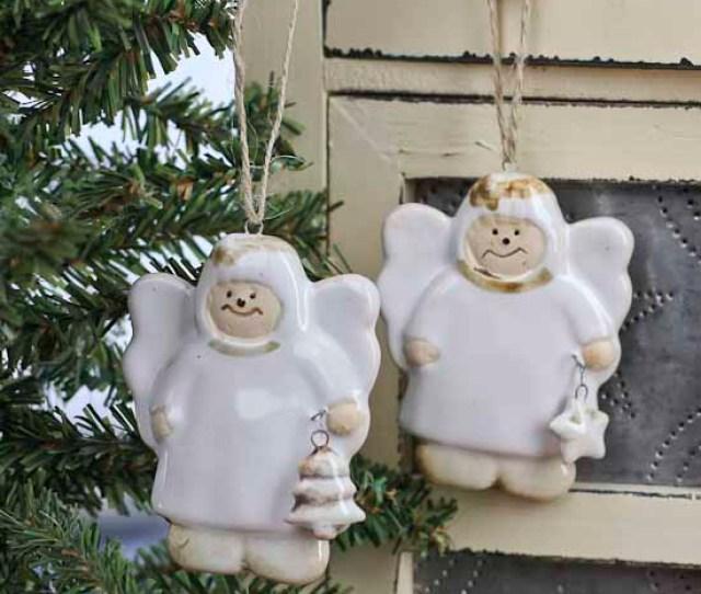 Item  Set Of  Ceramic Angel Holiday Ornaments