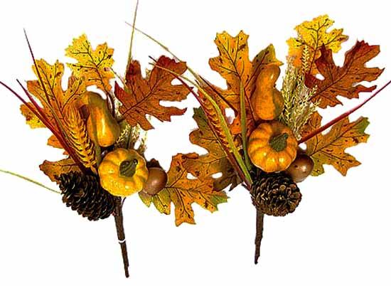 "12"" Oak Leaves, Pumpkin, Gourd And Wheat Fall Floral Pick"