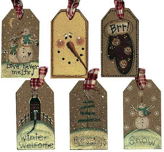 Primitive Winter Holiday Wooden Gift Tag - Signs & Ornaments - Home ...