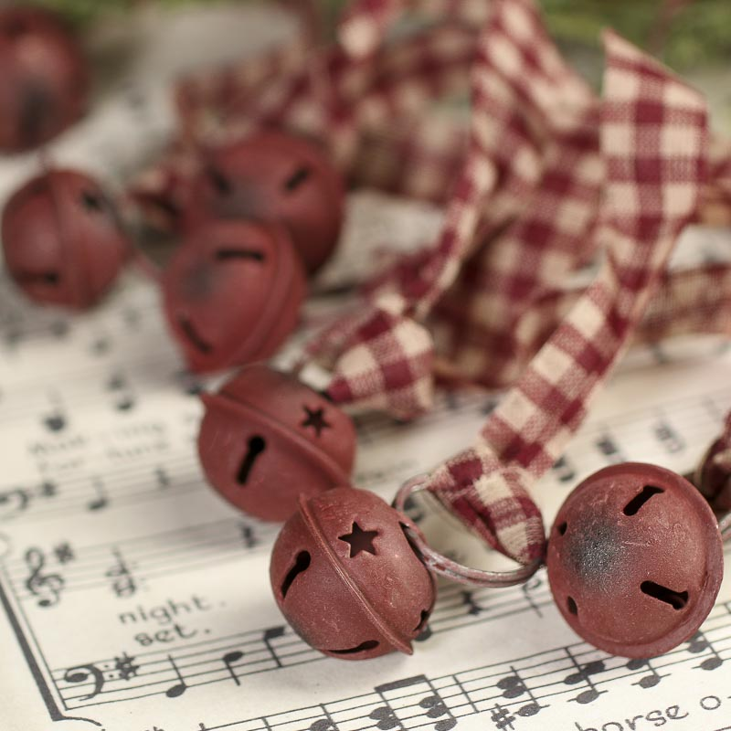 Rustic Burgundy Sleigh Bells Garland Christmas And