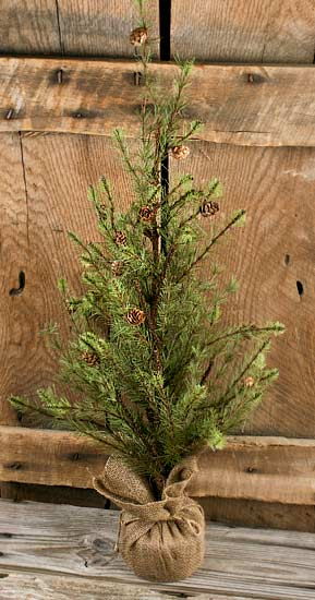 36 Artificial Woodsy Pine Tree With Pine Cones And Burlap