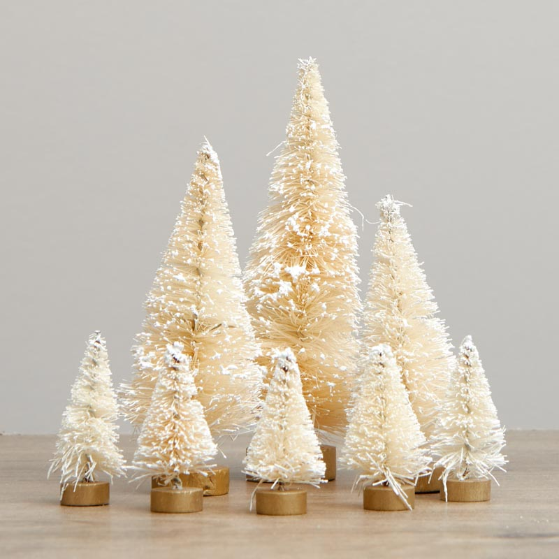 Assorted Frosted Cream Bottle Brush Trees Christmas