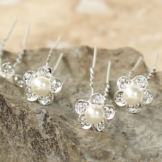Rhinestone And Pearl Flower Hair Pins New Items