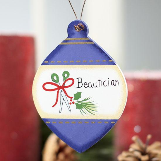 Flat Wood Beautician Christmas Bulb Ornament Signs
