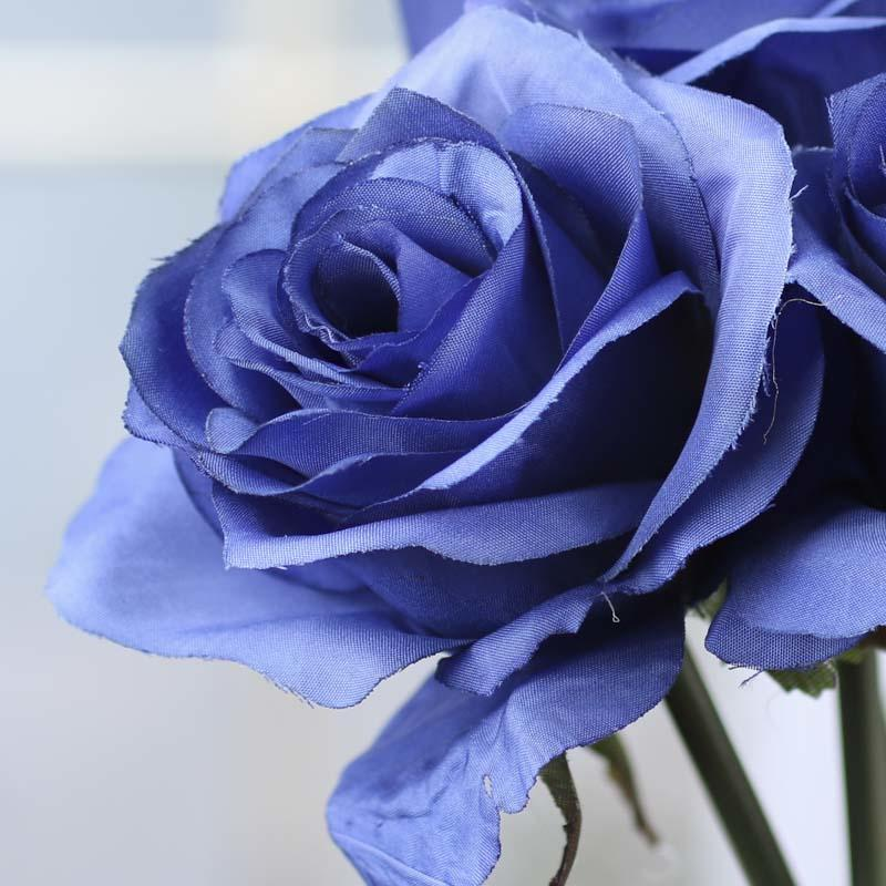 Royal Blue Artificial Rose Bouquet Silk Poly And Ribbon
