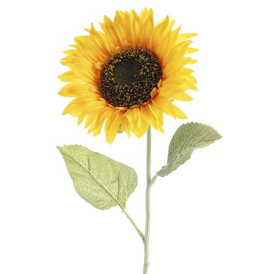 Flocked Artificial Sunflower Stem Fall Florals Floral