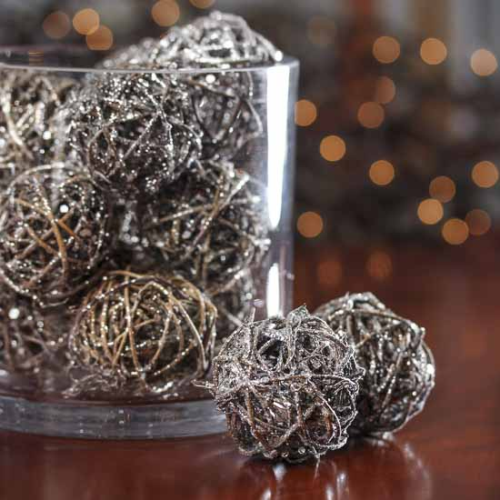 Small Silver Glittered Rattan Balls Vase Fillers Table