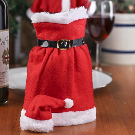 Mrs Santa Claus Bottle Cover Table Decor Christmas