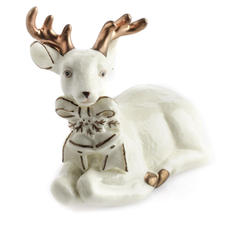Ceramic Kneeling Deer Figurine Table Decor Christmas