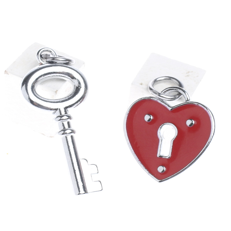 Red Heart Lock And Key Charms Valentines Day Holiday