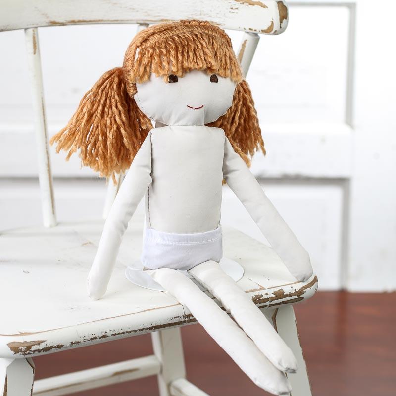 Muslin Rag Doll With Red Yarn Hair Muslin Dolls And