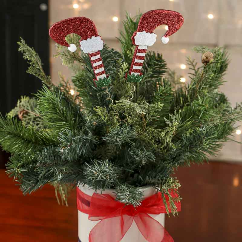 Glittered Elf Legs Christmas Floral Pick Picks And Stems