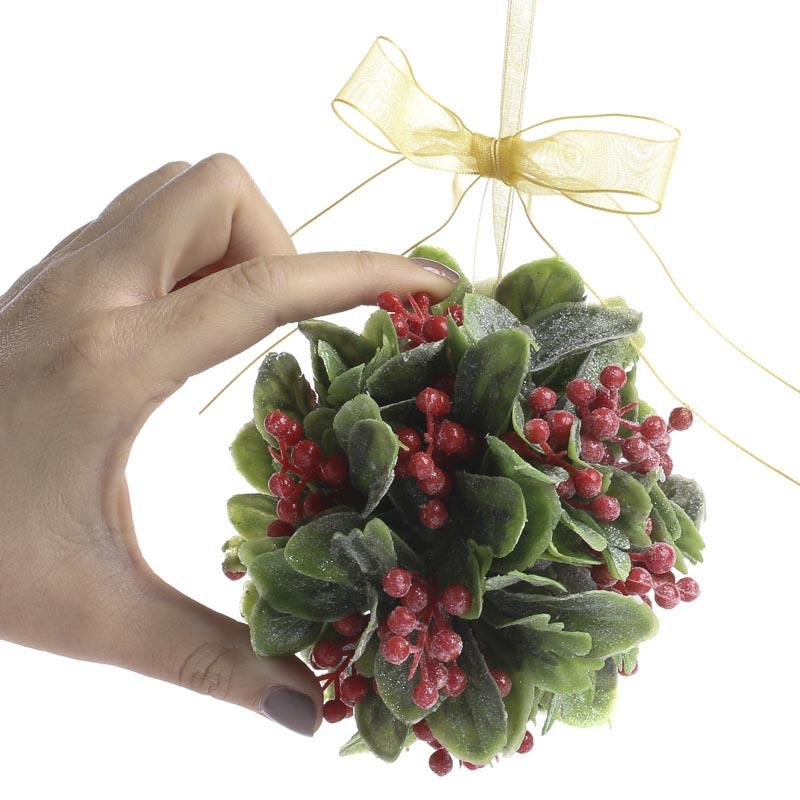 Frosted Artificial Mistletoe And Holly Kissing Ball