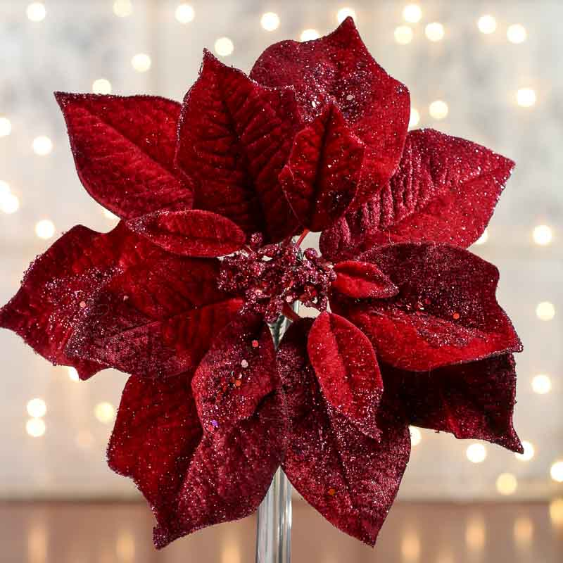 Sparkling Velvet Artificial Poinsettia Stem Picks And