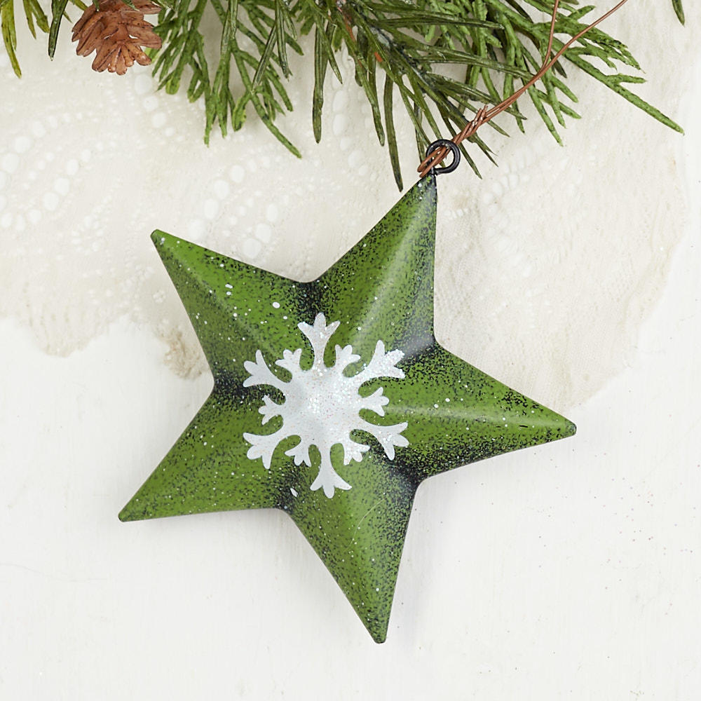 3 14 Snowflake Barn Star Ornament Christmas Ornaments