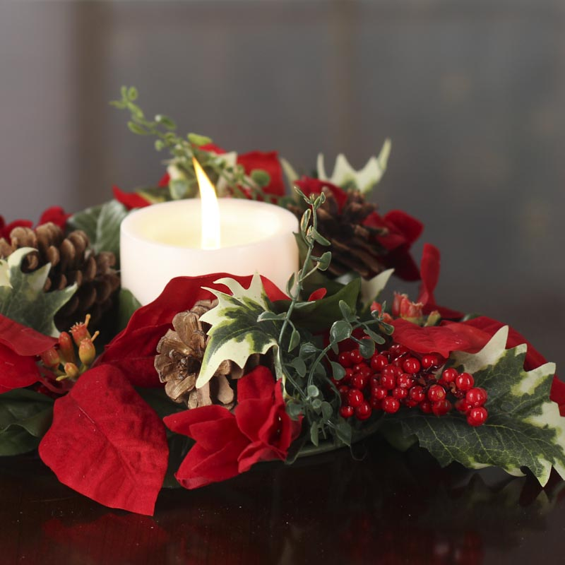 Artificial Poinsettia And Holly Candle Ring Candles And